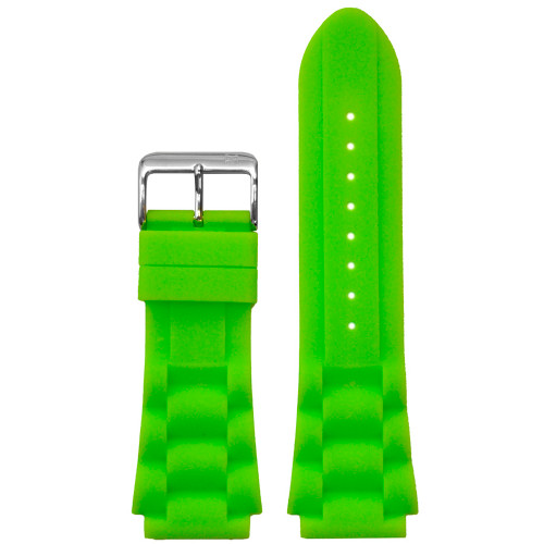 24mm Piero Magli Green Waterproof Silicone Oyster Diver Watch Strap | Panatime.com