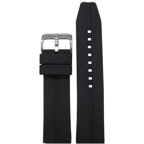 20mm Piero Magli Black Waterproof Caucho Rubber Diver Watch Strap with Single Stripe| Panatime.com