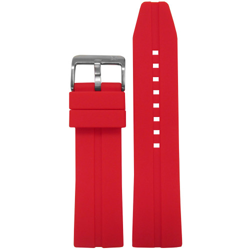 20mm Piero Magli Red Waterproof Caucho Rubber Diver Watch Strap with Single Stripe| Panatime.com