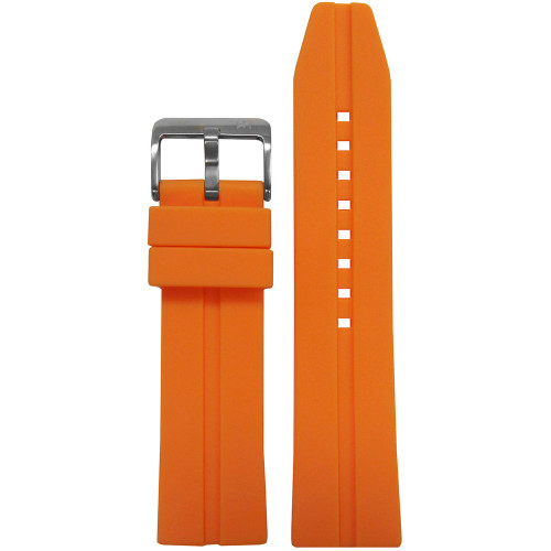 20mm Piero Magli Orange Waterproof Caucho Rubber Diver Watch Strap with Single Stripe| Panatime.com