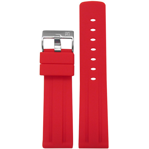 20mm Piero Magli Red Waterproof Caucho Rubber Diver Watch Strap with Racing Stripes| Panatime.com