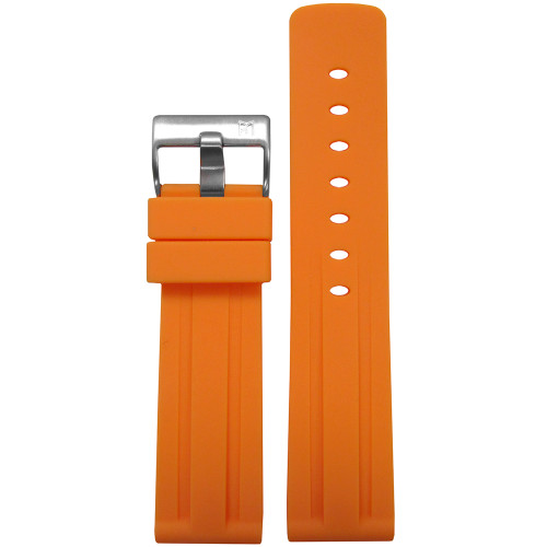 20mm Piero Magli Orange Waterproof Caucho Rubber Diver Watch Strap with Racing Stripes| Panatime.com