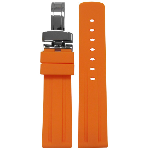 24mm Piero Magli Orange Waterproof Caucho Rubber Diver Watch Strap with Racing Stripes and Deploy Buckle Attached | Panatime.com