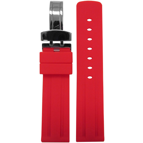 20mm Piero Magli Red Waterproof Caucho Rubber Diver Watch Strap with Racing Stripes and Deploy Buckle Attached | Panatime.com