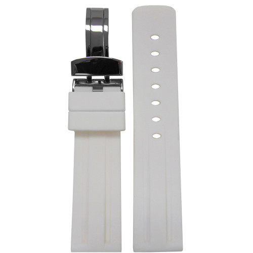 22mm Piero Magli White Waterproof Caucho Rubber Diver Watch Strap with Racing Stripes and Deploy Buckle Attached | Panatime.com