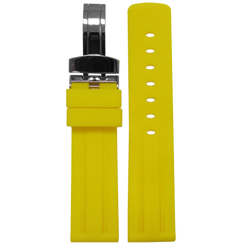 20mm Piero Magli Yellow Waterproof Caucho Rubber Diver Watch Strap with Racing Stripes and Deploy Buckle Attached | Panatime.com