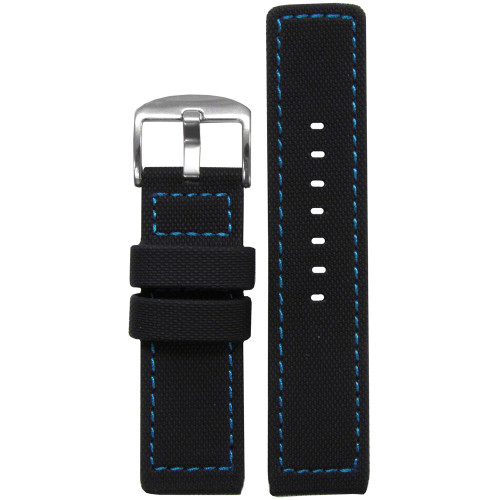 22mm Black Waterproof PU Ballistic Watch Strap with Blue Stitching  | Panatime.com