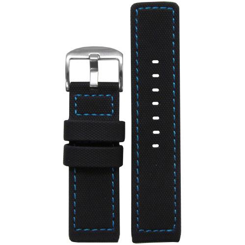 20mm Black Waterproof PU Ballistic Watch Strap with Blue Stitching  | Panatime.com