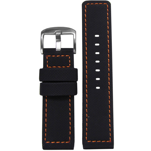 22mm Black Waterproof PU Ballistic Watch Strap with Orange Stitching  | Panatime.com