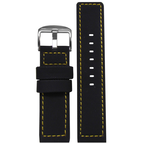 22mm Black Waterproof PU Ballistic Watch Strap with Yellow Stitching  | Panatime.com
