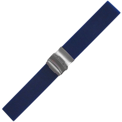 20mm Blue Waterproof Silicon Flat Diver Watch Strap with Deploy Buckle Attached| Panatime.com