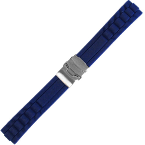 20mm Blue Waterproof Silicon Oyster Diver Watch Strap with Deploy Buckle Attached| Panatime.com