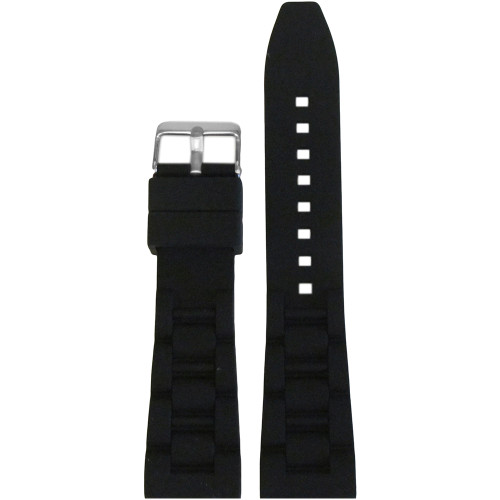 22mm Black Waterproof Silicon Oyster Diver Watch Strap | Panatime.com