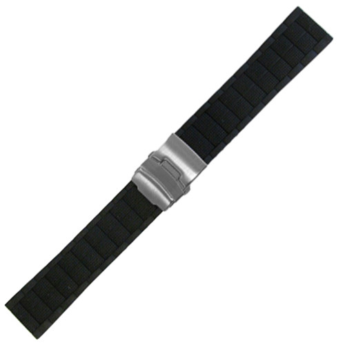 "22mm Black Waterproof Silicon ""Ops"" Diver Watch Strap with Deploy Buckle Attached