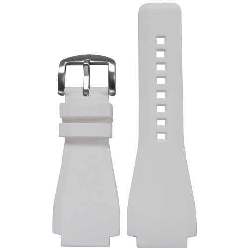 24mm White Waterproof Rubber Watch Strap - Exact Replacement For Bell & Ross | Panatime.com