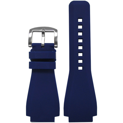 24mm Dark Blue Waterproof Rubber Watch Strap - Exact Replacement For Bell & Ross | Panatime.com