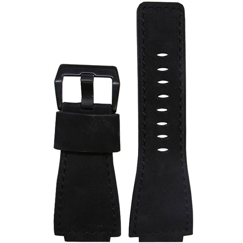 "24mm ""Black Out"" Soft Suede Vintage Leather Watch Strap with Black Stitching For Bell & Ross 