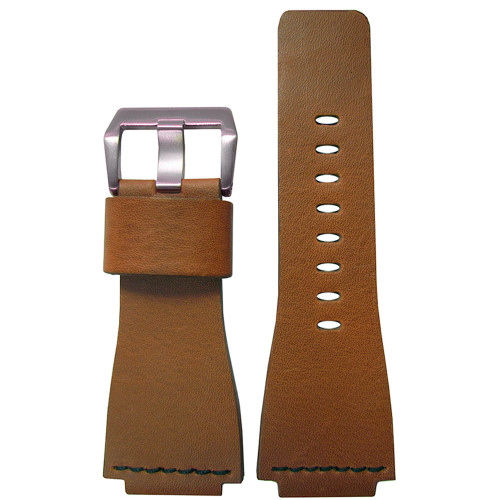 24mm Light Brown Vintage Leather Watch Strap with Single Black Stitch For Bell & Ross | Panatime.com