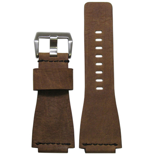 24mm Olive Wood Vintage Leather Watch Strap with Single Black Stitch For Bell & Ross | Panatime.com