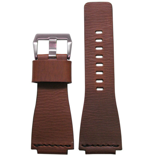 24mm Smooth Brown HZ Vintage Leather Watch Strap with Single Black Stitch For Bell & Ross | Panatime.com