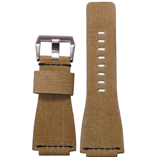 24mm Light Maple Vintage Leather Watch Strap with Single Black Stitch For Bell & Ross   Panatime.com