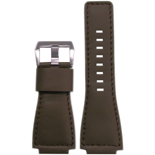24mm Smooth Brown Leather Watch Strap with Match Stitching For Bell & Ross | Panatime.com