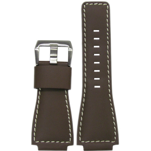24mm Smooth Brown Leather Watch Strap with White Stitching For Bell & Ross | Panatime.com