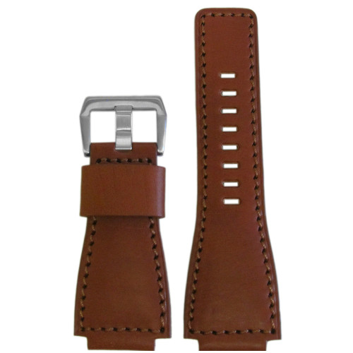 24mm Medium Brown Vintage Leather Watch Strap with Match Stitching For Bell & Ross | Panatime.com