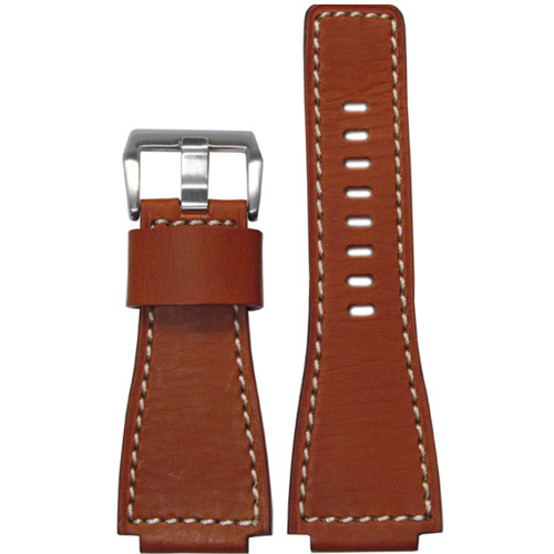 24mm Rou HZ Vintage Leather Watch Strap with White Stitching For Bell & Ross | Panatime.com