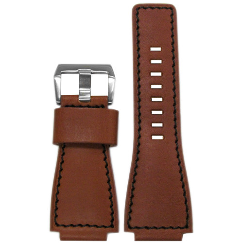 24mm Rou HZ Vintage Leather Watch Strap with Black Stitching For Bell & Ross | Panatime.com