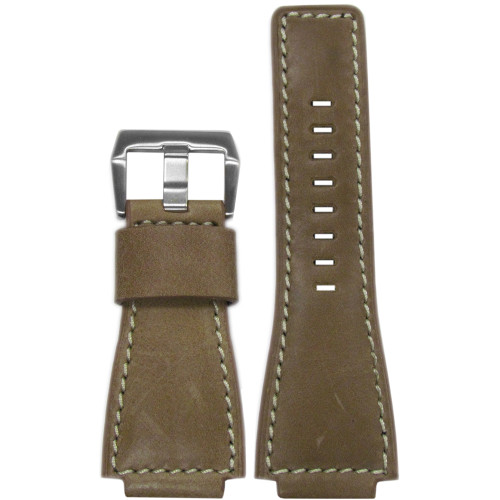 24mm Natural Vintage Leather Watch Strap with White Stitching For Bell & Ross  | Panatime.com