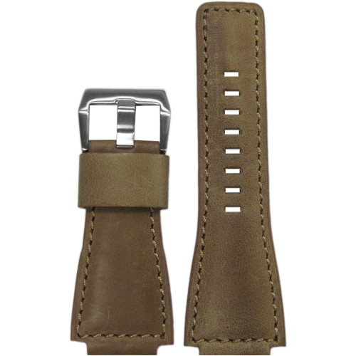 24mm Natural Vintage Leather Watch Strap with Match Stitching For Bell & Ross  | Panatime.com