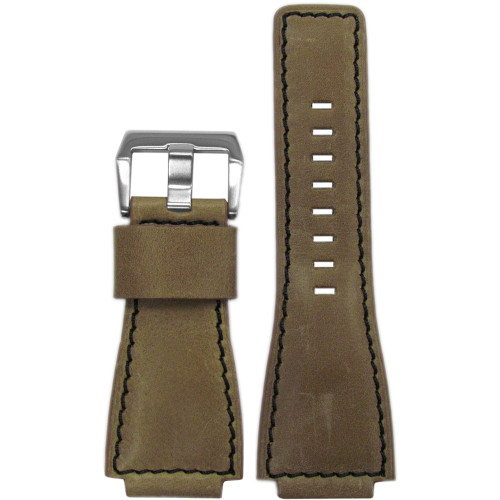 24mm Natural Vintage Leather Watch Strap with Black Stitching For Bell & Ross | Panatime.com