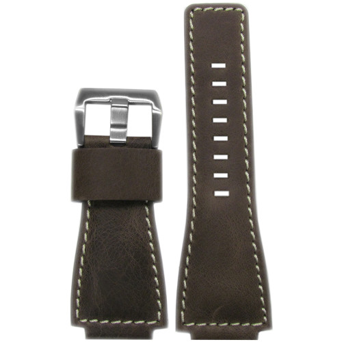 24mm Dark Oak Distressed Vintage Leather Watch Strap with White Stitching For Bell & Ross | Panatime.com