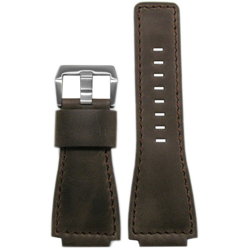24mm Dark Oak Distressed Vintage Leather Watch Strap with Match Stitching For Bell & Ross | Panatime.com
