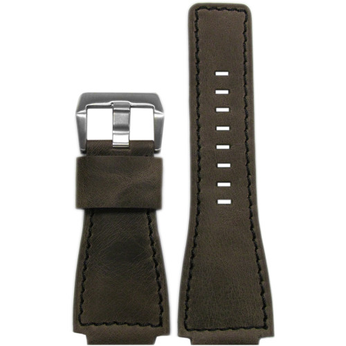 24mm Dark Oak Distressed Vintage Leather Watch Strap with Black Stitching For Bell & Ross | Panatime.com