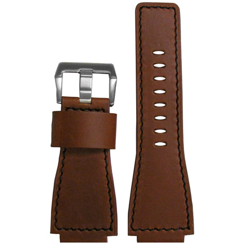 24mm Brown Vintage Leather Watch Strap with Black Stitching For Bell & Ross | Panatime.com