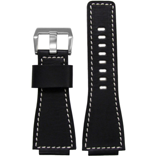 24mm Black HZ Vintage Leather Watch Strap with White Stitching For Bell & Ross | Panatime.com