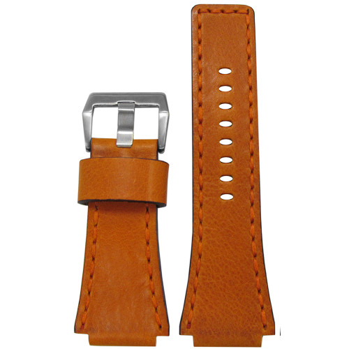 24mm Camel Vintage Leather Watch Strap with Match Hand Stitching For Bell & Ross | Panatime.com