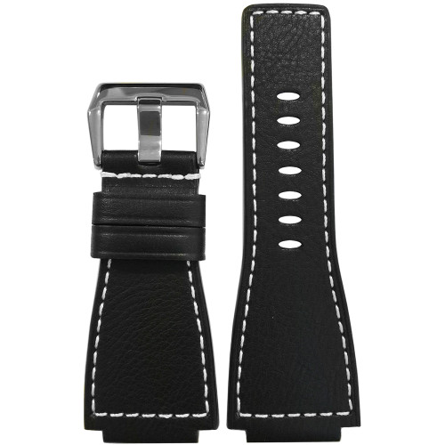 24mm Black Russian Leather Watch Strap with White Stitching For Bell & Ross | Panatime.com