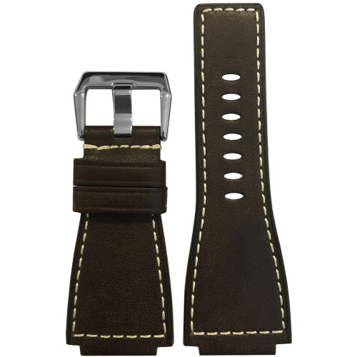 24mm Mocha Russian Leather Watch Strap with White Stitching For Bell & Ross | Panatime.com