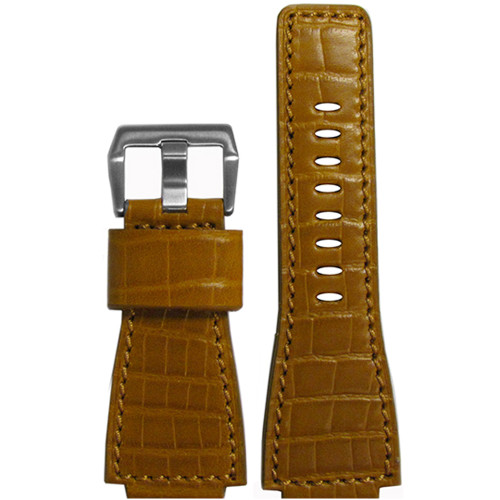 "24mm Honey Embossed Leather ""Gator"" Watch Strap with Match Stitching For Bell & Ross 