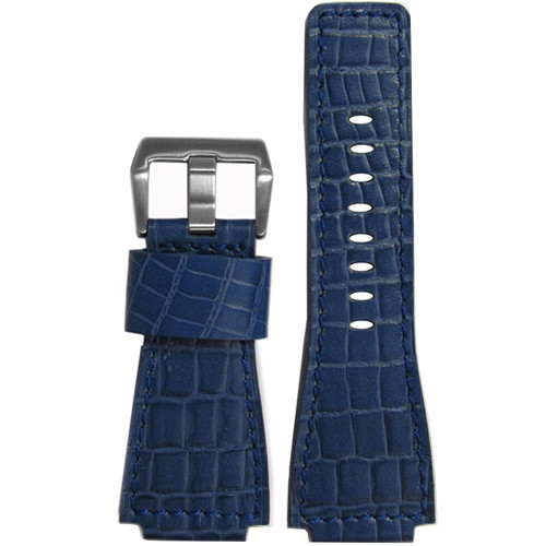"24mm Dark Blue Embossed Leather ""Gator"" Watch Strap with Match Stitching For Bell & Ross 
