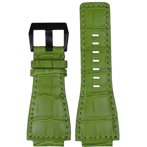 "24mm Green Embossed Leather ""Gator"" Watch Strap with Match Stitching For Bell & Ross 