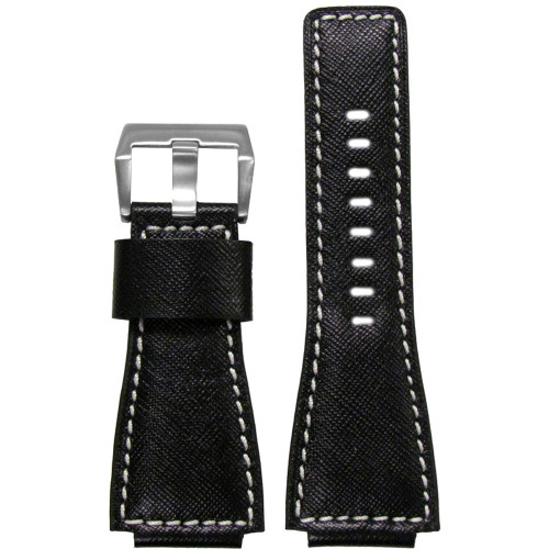 "24mm Black Leather Diamond ""KVLR"" Watch Strap with White Stitching For Bell & Ross 