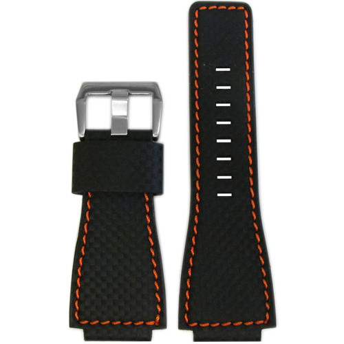 24mm Black Carbon Fiber Style Watch Strap with Orange Stitching For Bell & Ross | Panatime.com