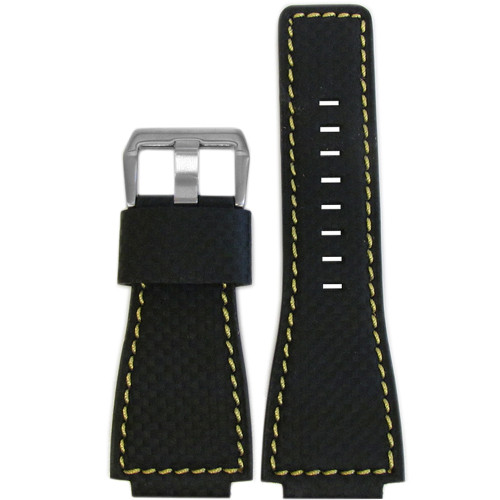 24mm Black Carbon Fiber Style Watch Strap with Yellow Stitching For Bell & Ross | Panatime.com