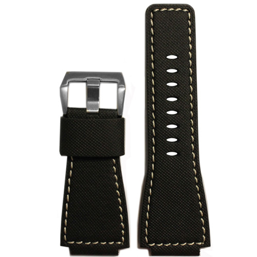 "24mm Black Leather Original ""KVLR"" Style Watch Strap with White Stitching For Bell & Ross 