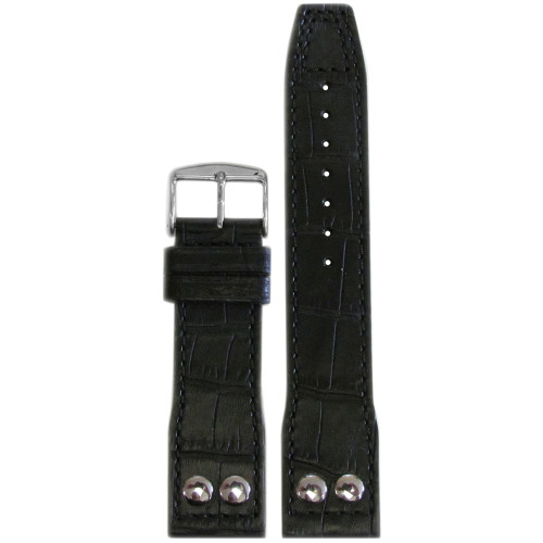 "22mm Black Embossed Leather ""Gator"" Pilot Style Watch Strap with Match Stitching for IWC 