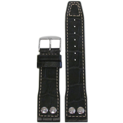 "22mm Black Embossed Leather ""Gator"" Pilot Style Watch Strap with White Stitching for IWC 